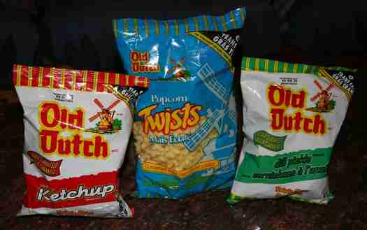 Old Dutch ketchup chips, popcorn twists, dill pickle chips