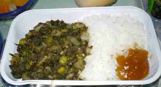 Saag aloo with rice and chutney