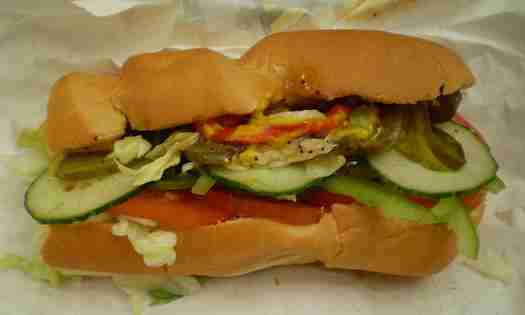 Subway veggie delite sandwich
