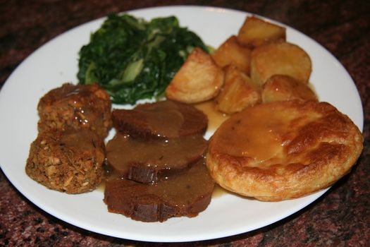 Roast dinner with vegan Yorkshire pudding