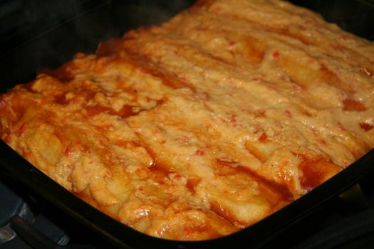 Vegetable & tofu enchiladas in the pan