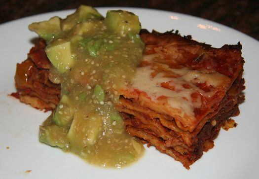 Mexican tortilla bake with tomatillo salsa