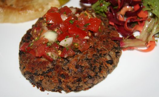 Black bean-mushroom burgers with fresh salsa