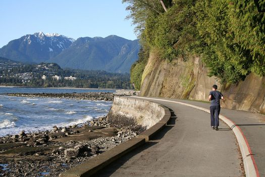 Running on the Vancouver seawall