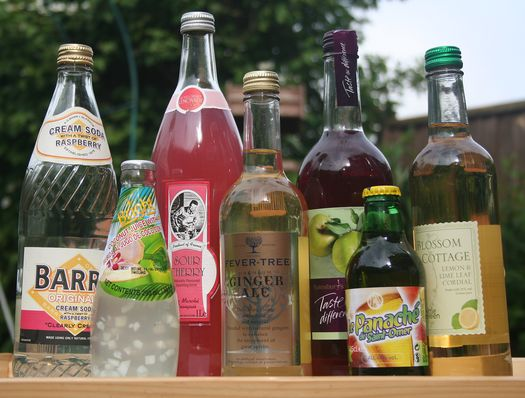 soft drinks in glass bottles