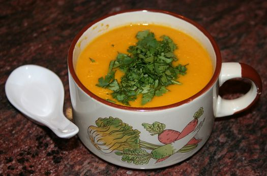 Carrot soup with Thai flavours